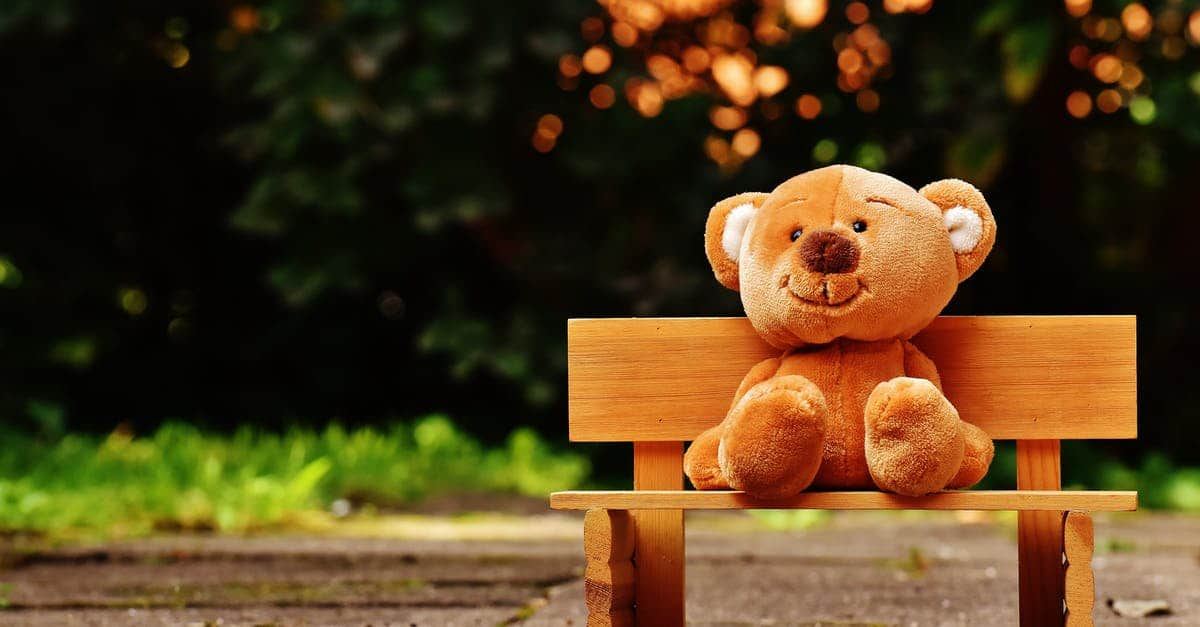 A brown bear sitting on top of a wooden bench